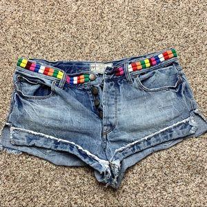 Free People Lightwash Denim Mini Shorts